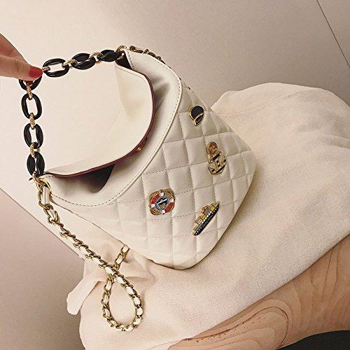 Sac Sac la à Les Sac Rice Diamond de chaîne Sac ZHANGJIA Sac Femmes Mous Seau white bandoulière 456FH5wq