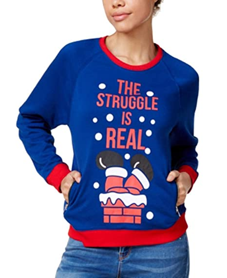 Mighty Fine Juniors The Struggle is Real Holiday Graphic Sweatshirt