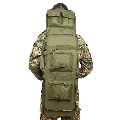Airsson Tactical Rifle Gun Case Cover Soft Double Rifle Bag Backpack Storage with Shoulder Strap Magazine Pouch Nylon Waterproof (Olive Drab, 48')