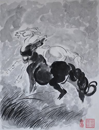 Jiangnanruyi Art Horse Original Hand Painted Artwork Unframed Chinese Brush Ink and Wash Watercolor Painting Drawing Decorations Decor for Office Living Room Bedroom 24 18inch, Artwork-06