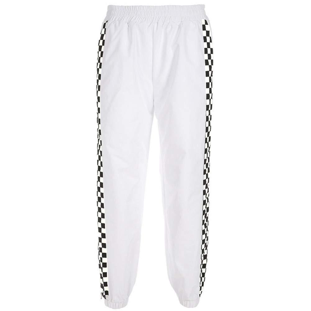 WBWANY Pantalones de chándal con Botones Laterales a Cuadros ...