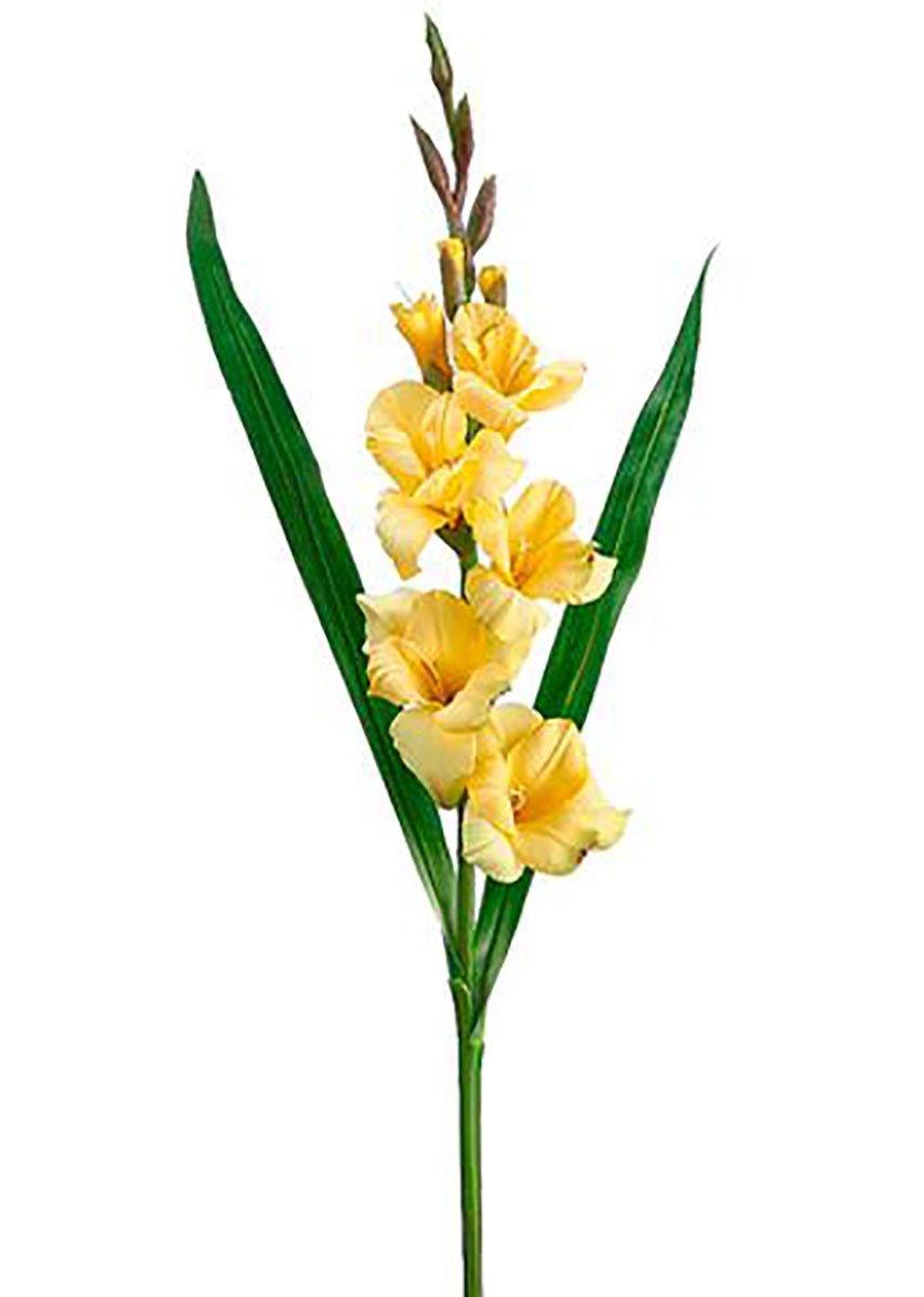 "silk flower arrangements afloral silk gladiolus spray in yellow - 33"" tall"