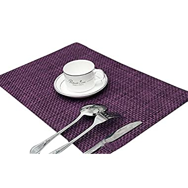 Sealike Vintage Rectangle Woven Placemat Table Mat Set of 4 With Stylus(Purple)