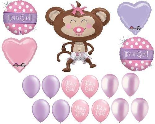 loonballoon MonkeyおむつおしゃぶりIt 's A Girlベビーシャワー( 17 )サファリジャングルバルーンセット   B01FTXORQK