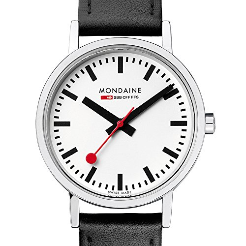 Amazon Mondaine Mens Classic 36 Mm Watch With Stainless Steel Polished Case White Dial And Black Leather Strap A6603031411SBO Watches