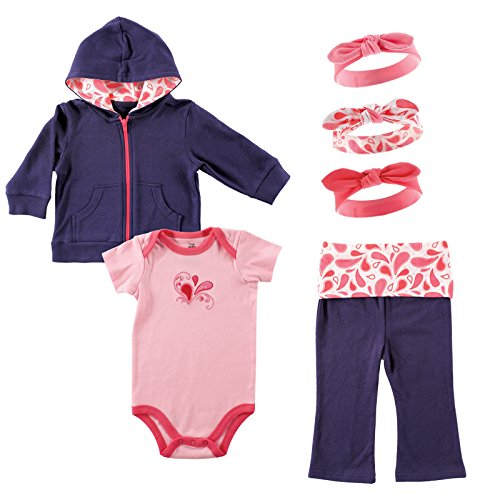 Yoga Sprout Girl's Jacket, Bodysuit, Pant, and 3 Headbands Set, Paisley, 9-12 Months