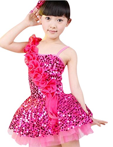 CRB Girls Kids Toddler Dancing Sparkly Top Dress Dancer Costume Outfit (2 to 3 Years Old (100cm), Dark Pink) -
