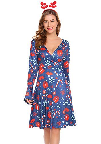 Beyove Women's Sexy V-Neck Floral Print Bell Sleeve Christmas Split Midi Party Faux Wrap Dress With Belt