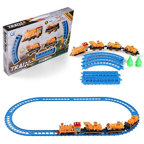 Winter Ride Train - My First Train Set Educational Play Toy,Truck, Bulldozer Train Railway Building Block Preschool