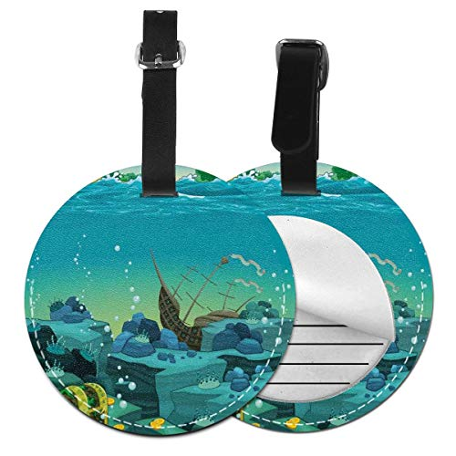 Round Travel Luggage Tags,Seascape Underwater With Treasure Galleon And Sunk Ship Pirate Kids Print,Leather Baggage Tag 1 PCS (Galleon Pirate Ship)
