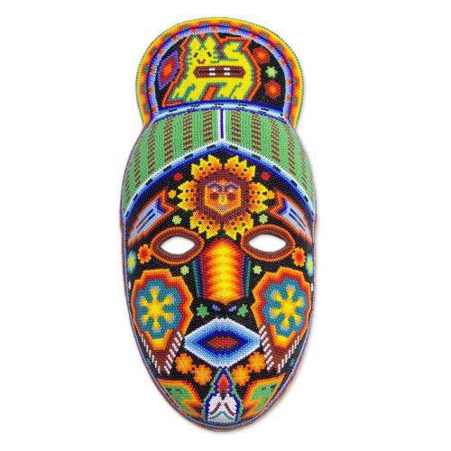 Huichol Mask (NOVICA Decorative Huichol Beaded Papier Mache Mask, Multicolor, 'Messenger')