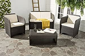 Safavieh 4-Piece Outdoor Collection Caprina Patio Set, Brown and Beige