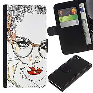 Billetera de Cuero Caso Titular de la tarjeta Carcasa Funda para Apple Iphone 6 4.7 / Lips Sensual Girl Red Smart Glasses / STRONG