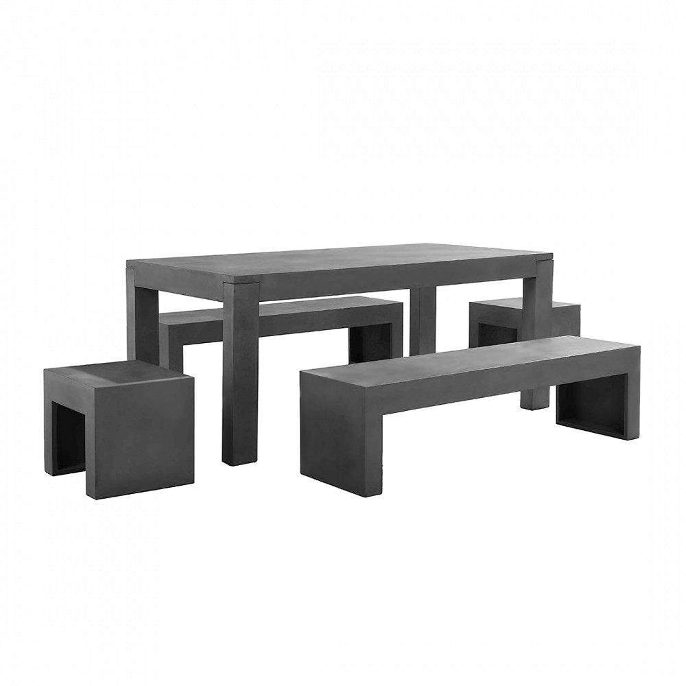 Beton Gartenmöbel - Tisch mit zwei Bänken und zwei Hocker ...