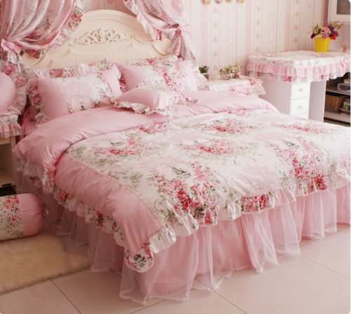 Pink Rose Floral Print Duvet Cover Bedding Set For Girls 4 Pieces Twin Size