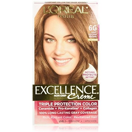- L'Oreal Paris Excellence Creme Triple Protection Hair Color -Light Golden Brown [6G] Pack of 4