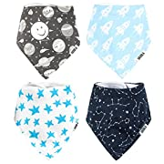Stadela Baby Adjustable Bandana Drool Bibs for Drooling Teething Nursery Burp Cloths 4 Pack Baby Shower Gift Set for Boy – Space Adventure Rocket Planet Solar System Star Constellation Astronaut