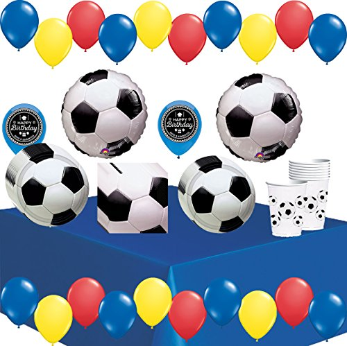 - World Cup Soccer Ball Party Supplies Decorations Balloons Plates Napkins Cups and Table Cover Theme Bundle For (Colombia)