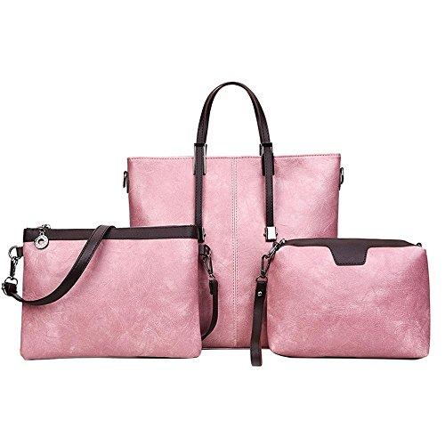 Aoligei Huile cire cuir, européenne et américaine fille sac rétro sac de Messager d'épaule Baotan three-piece C
