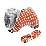 Doglemi Adjustable Escape Proof Cat Harness Hooded Soft Vest Collar Leash for Pet Outdoor Walking Playing(Orange)