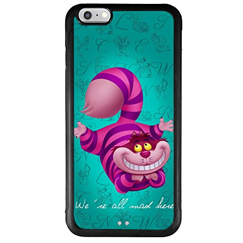"""iPhone 6 Plus 5.5"""" case, Onelee Alice in Wonderland We're all mad here Cheshire Cat Smile Face Jasmine Tire tread pattern TPU Rubber Black iPhone 6s Plus 5.5""""s Case Neverfade Scratchproof Case"""