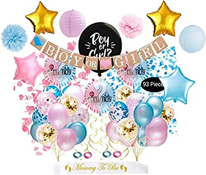 Decoration for Baby Shower Baby Gender Reveal Party Decoration Set Boy Or Girl Banner Baby Foil Balloon Girl Or Boy Gender Reveal Balloon with Confetti
