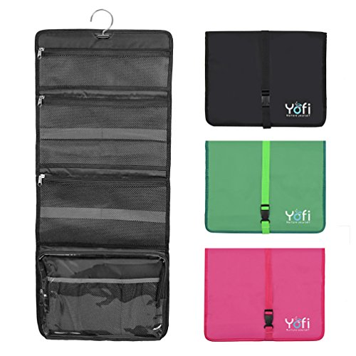 Hanging Toiletry Bag by Yofi Nurture Yourself: Organizer for Cosmetics, Makeup, Jewelry, Toiletries, Shaving Tools in Black Expandable, Polyester Case with Zippers and Sections for Home or Traveling (Expandable Bat)
