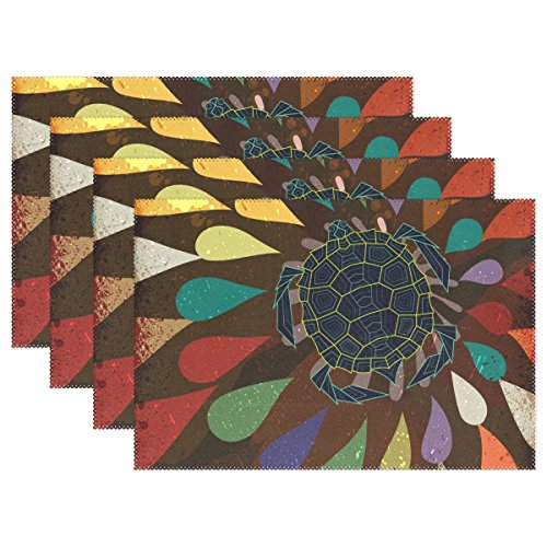 Hulahula Art Turtle Heat-Resistant Placemats Non-Slip Wrinkle-Free Washable Table Mats Doily for Dinner Party Table(Set of - Free Set Placemat