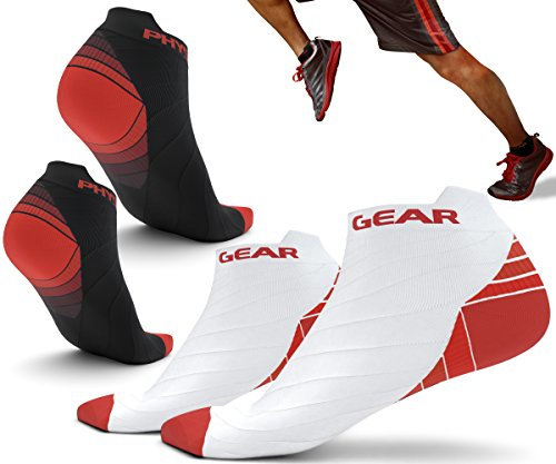 Physix Gear Sport Compression Running Socks for Men & Women - Best Athletic Low Cut Socks with No Show Ankle Design - Premium Quality Stitching - Boost Stamina Circulation & Recovery (RED BLK L/XL)