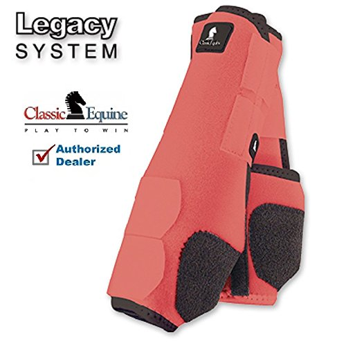 M- 4 PACK CORAL CLASSIC EQUINE LEGACY SYSTEM HORSE FRONT REAR HIND SPORT BOOT by Classic Equine