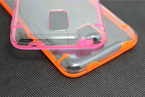 Luminous Glow in the Dark Cover Case for iPhone 4 4S 5 5S 5C 6 Plus Samsung Galaxy S5 S6 S6 edge (for Samsung Galaxy S6 edge G9250 Set of 2: Pink + Orange)