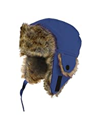 Youth Size Winter Trapper Hat with Faux Fur Lining and Ear Flaps
