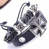 Modern Fantasy Black Rock Cross Christmas Ring Adjustable Weave Gifts Metal Luck Leather Bracelet