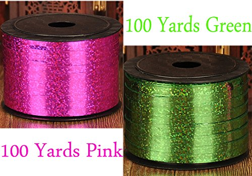 Chilly 2 Curling Ribbon Roll Balloon Ribbon Birthday Christmas Party Ribbons for Gift Wrapping, Party Decorations, 5mm Wide, 100 Yard, Pack of 2 (Pink/Green)