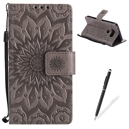 Embossed Strap - LG G5 Wallet Case Premium Soft PU Leather Cover with Card Slots and Wrist Strap Stand Function MAGQI Embossed Mandala Cover for LG G5 + Black Stylus - Grey
