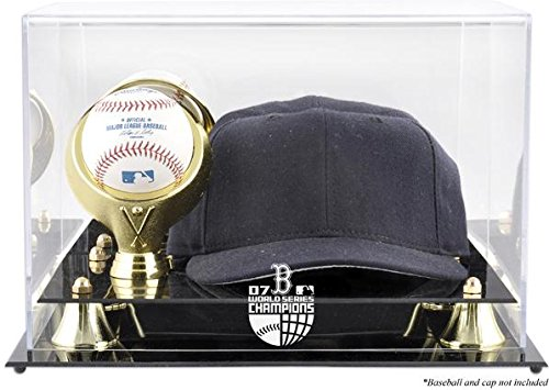 Boston Red Sox 2007 World Series Champs Acrylic Cap and Baseball Logo Display Case - Mlb Baseball Cap Display Case