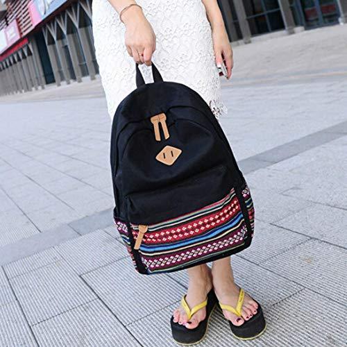 Travel Backpack School Satchel Bag Shoulder Black Black Bookbags Girls Canvas Rucksack Boys Kanpola vRXq88