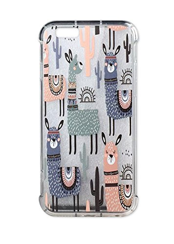 iPhone 6 Case, Ftonglogy Clear with Design Llama Cactus with Blue Pink Hand-painted Pattern Print Protective Case for iPhone 6/6s (Cactus)