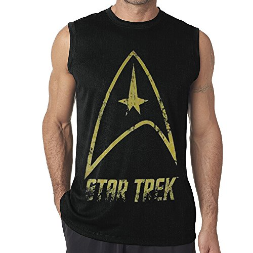 Black Moisture Wicking Funny Men' Star Trek Muscle (Star Trek Communicator Keychain)