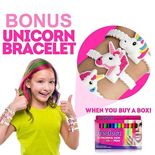 Hair Chalk Birthday Gifts for Girls + Bonus unicorn bracelet –Temporary Hair Chalk Color for Kids – 12 Hair Chalk Pens Set – Perfect Gift Idea for Girls from 3 -