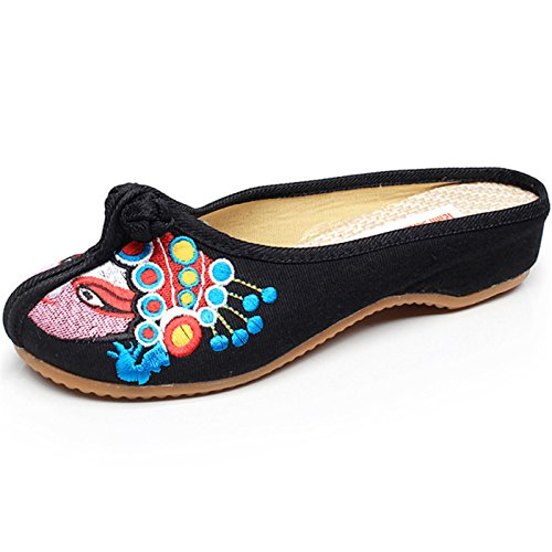 Qhome Girls Chinese Style Peking Opera Embroidery Round Toe Casual Walking  Slippers outlet 8e42c509b
