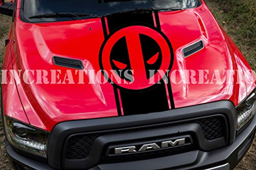 Deadpool Hood Vinyl Decal Stripe Comics Marvel Dodge Chevy Toyota Track Sedan Universal For Any Car (Red)