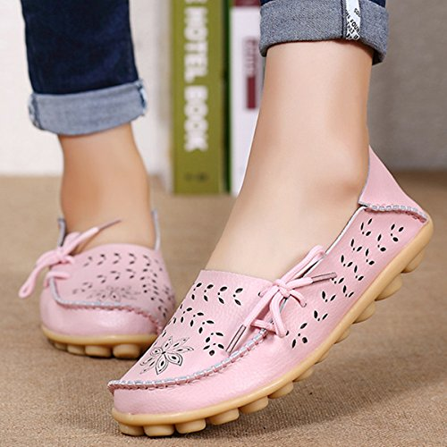 Flats Hollow Shoes Casual Shoes Driving Shoes Summer Pumps Pink Leather Working Comfy Dancing Out Slip Women's on Cut Moccasins Shoes Women Loafer Carving Ladies Sandals Out Boat gracosy qZEtwIY7F