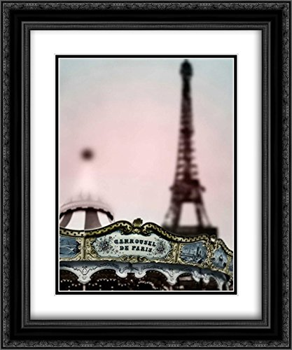 Carousel Tower 2X Matted 20x24 Black Ornate Framed Art Print by Telik, Tracey -