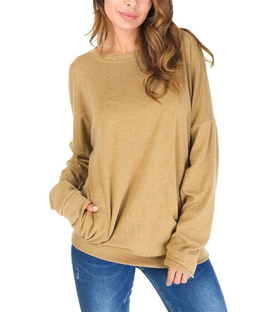 Fenxxxl Women Long Sleeve Crewneck Casual Pullover Solid Color Sweatshirt Jumper Top with Pockets