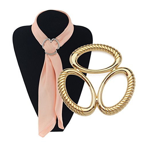 Buckle Fashion Ring (S&E Women's Elegant Oval Three Layers Scarf Clips, Fashionable Metallic Scarves Buckle Silk Rings (gold))