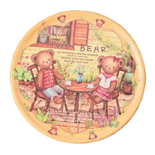 4PCS RetroStyle Cup Mats Plate Coasters Saucer Drinks Holder Tray, Twin Bear