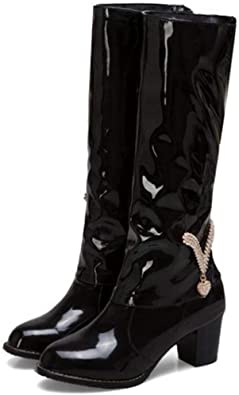 Women's Slouch Patent Leather Knee High