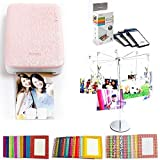 PhotoBee Portable Sticker Photo Printer Party Package - Pink (Photo Printer Set with 48 Sheets of Sticky Backed Photo Paper, 30 Sparkling Frames, 1 Metal Photo Tree with Clips)