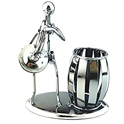 AblueA Pencil Holder Metal Pen Cup Holder Desktop Organizer for Office Supplies (Musical Instrument - French Horn)